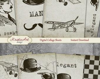 75% OFF SALE Gentleman - Digital Collage Sheet Digital Cards C208 Printable Download Image Atc Card ACEO Men's Cards Black&White image