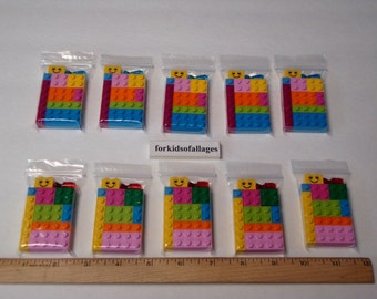 10 Lego Party Favors / Giveaways -- Lot of 10 Lego Brick Bags -- Bright Friends Colors
