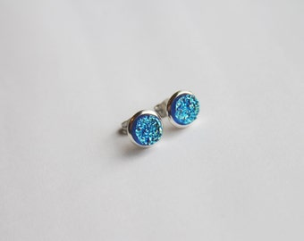 SMALL Blue Faux Druzy Glitter Earrings - Posts/Studs 8mm SMALL (D191) - Gifts for Her, Women, Teens, Under 20, Under 10, Stocking Stuffer