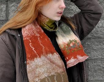Felted scarf. Winter scarf. Nuno felted scarf. Merino wool scarf. Wool silk scarf. Handmade. 100% natural. Orange green brown shawl