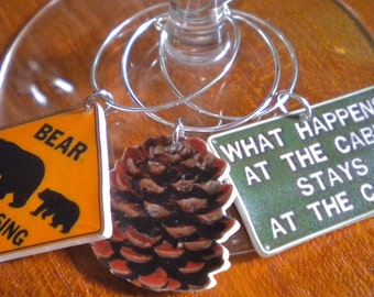6 Colorful Northwoods Cabin Wine Charms Great Christmas gift stocking stuffer for that northwoods Cabin fan