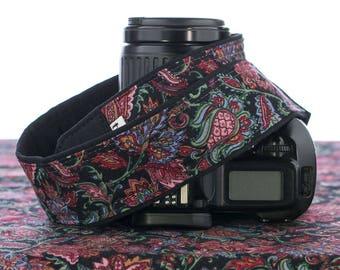 Floral dSLR Camera Strap, Paisley, Quick Release, Pocket, Canon Camera Strap, Nikon Camera Strap, Black Rose, Burgundy, Green, Blue, 159