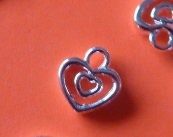 10 pcs sterling silver shiny filgree heart charm