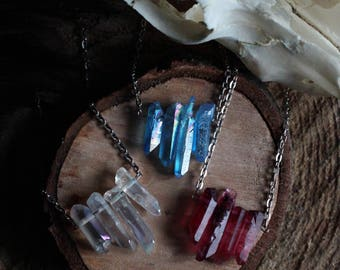 Raw Aura Quartz Crystal Necklace - Flame Aura, Angel Aura, Aqua Aura, Titanium Aura