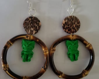 Tiki earrings, Tiki, Tiki jewelry, Luau, Tiki bar, Tiki Wedding, Ku tiki, Handmade, Bamboo, Bamboo earrings, Leopard print