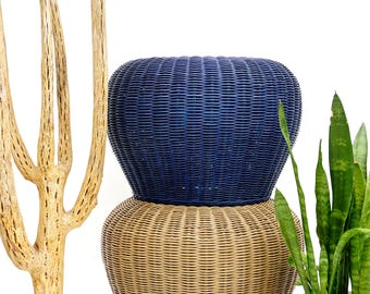 Vintage Woven Wicker Rattan Pouf Footstools Ottomans Plant Stands Boho Meditation Cushions Garden Stool Side Table | ONLY ONE LEFT!