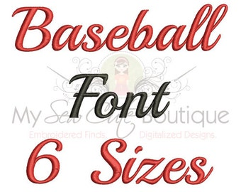 Baseball Time Script Machine Embroidery Font - 6 Sizes Included - BX Format Included
