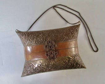 1900s Antique Copper and Brass Pillow Purse