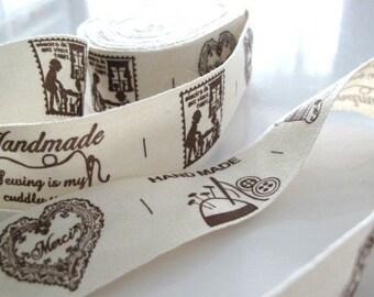 HANDMADE Print Fabric Ribbon Trim