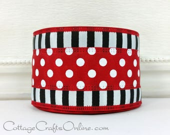 "Wired Ribbon, 2 1/2"", Red and White Polka Dots with Black and White Stripes - TEN YARD Roll - ""Dots in a Line"" Wire Edged Ribbon"