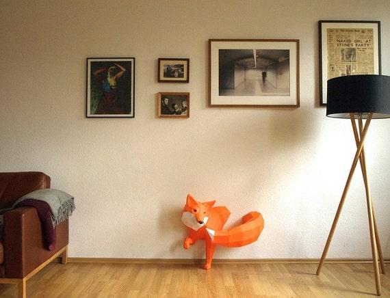 Grosser Fuchs Papierskulptur Wanddesign Projekt