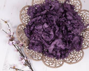 """Texture Fluff """"Blackberry Bliss"""", basket stuffer, wool fluff, newborn prop, cotswold loose locks, deep purple, naturally dyed"""