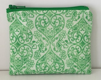Flowery Hearts Coin Purse - Green Cotton Change Purse - Small Zipper Pouch
