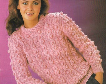 knitting pattern, pdf, women's ladies bobble cable knit sweater, jumper, sizes 32-46 inch, digital download, instant download