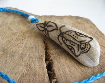 Ocean Blue Hemp and Driftwood Necklace, Long Boho Necklace, Celtic Moth and Flower, Summer Jewelry, Irish, Pictish