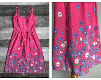 Vintage Pink 1950's Cotton Dress Sundress Floral Easter Spring Summer Dress Full Skirt Purple White Flowers Knee Length Size Small Medium