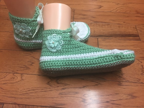 Womens shoes 9 slippers tennis 412 shoes crochet house flower sneakers Crocheted crocheted green sneaker shoes slippers slippers tennis 7 Zq6FwT