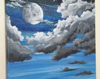 Night Sky Full Moon Shooting Star Acrylic On Canvas Painting
