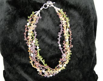 Multi Gemstone 5 Strand Faceted Necklace
