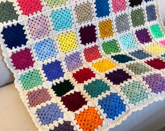 Granny Square Crochet Blanket - 64 unique color squares (Ready to Ship)