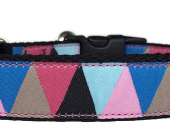 Colorful Triangles Ribbon Dog Collar