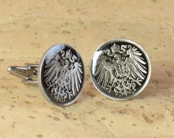 Men Cufflinks Germany enamel Coin.10 Pfennig