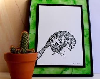 Kakapo, Bird Black&White Art, Animal Ink Drawing, Art Print, Ink Art