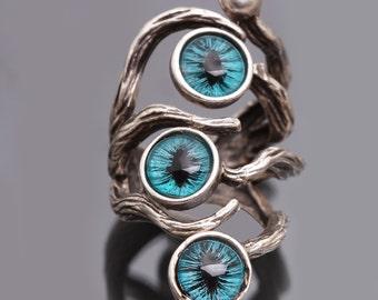 Dragon Eye Branch Ring Evil Eye Ring Silver Branch Ring Dragon Eye Ring
