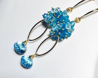 Topaz Earrings, Apatite Cluster, Gold Dangles, Sky Blue Topaz Gemstone Statement Earrings, Gift for Her
