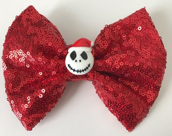 Jack Skellington Sandy Claws Christmas / Holiday Red Sequin Hair Bow