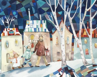Way home. Watercolor Art, Original Watercolor, Abstract Art, Illustration Watercolor, Modern Watercolor, Art For Children, Old City, Winter