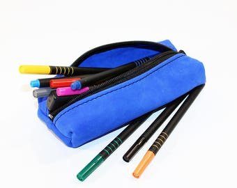 Leather Pencil Case! Handmade Case! Leather Pencil Pouch. Blue Pencil Case! FREE SHIPPING WORLDWIDE!