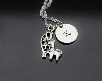 Giraffe Necklace Silver Mother Giraffe and Baby Charm Giraffe Jewelry Personalized Necklace Initial Charm Initial Necklace