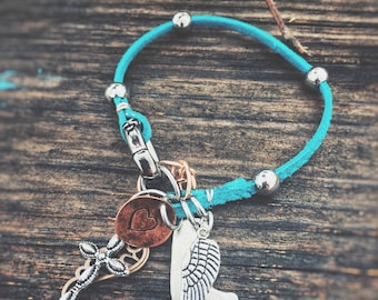 Turquoise Leather Stainless Steel Beaded Charm Bracelet - angel wings, cross, hand stamped heart and boot charms.