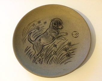 Barbara Linley Adams Poole Pottery - 13cm Stoneware plate - Puppy chasing ball