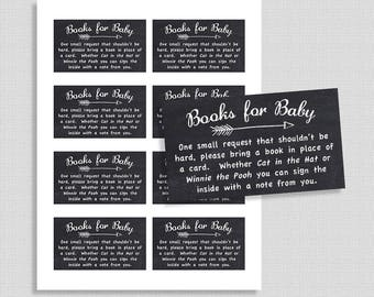 Chalkboard Baby Shower Book Request, Printable Invite Insert, Arrow, Gender Neutral, Books for Baby, INSTANT DOWNLOAD
