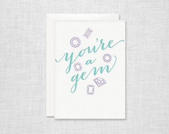 You're a Gem Letterpress Card