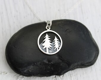 Pine Tree Necklace - Wilderness Jewelry - Fir Tree Necklace - Sterling Silver Pine Tree - Outdoors - Hiking - Skiing - Camping - Nature