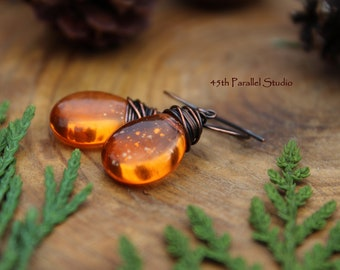 Orange Czech Glass Earrings, Copper Earrings, Copper Jewelry, Czech Glass Earrings, Rustic Earrings, Orange Earrings, Glass Earrings, Orange