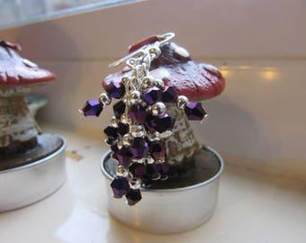 Purple earrings , Cluster earrings , Silver plated earrings , Iridescent earrings , Beaded earrings , Gifts for her