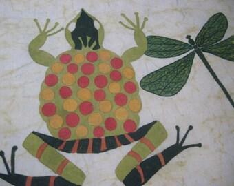 Vintage Frog and Dragonfly Batik Wall Hanging