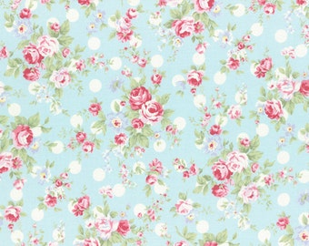 Princess Rose Fabric by Lecien - Roses & Polka Dots L31265-70 Blue