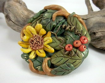 Clearance, Sunflower Brooch, Bright Fall Colors, OOAK, Polymer Clay, Floral Brooch