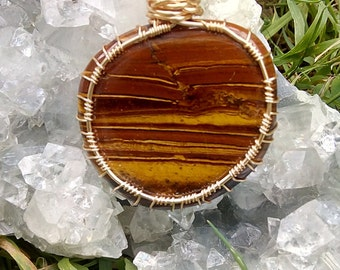 Tiger Eye Gold Plated Wire Wrapped Pendant