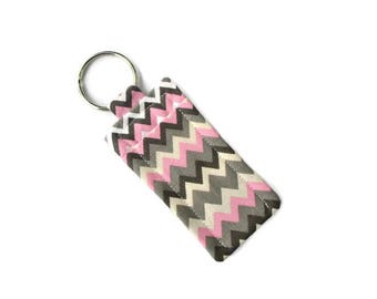 Lip Balm Holder Keychain - Pink and Gray Chevron Cotton Fabric - Hand Sewn - Travel Soap Pouch - Attach to Bag or Purse - Carrier - Cozy