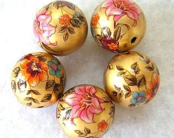 Beautiful Japanese Tensha Beads  LILY BOUQUET Matte GOLD 12mm 5 pieces