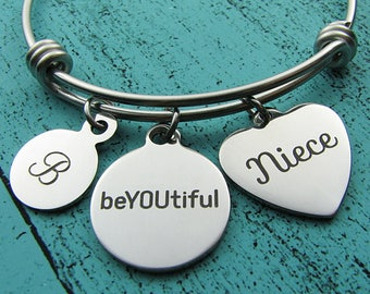 niece gift,  be YOU tiful bracelet, gift from aunt, niece jewelry, niece bracelet, niece birthday gift, jewelry for niece, gift for niece