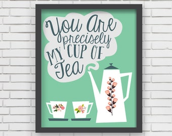 Green Home Decor Nursery Wall Art - Green Cup of Tea Art Print - 8x10 or 11x14
