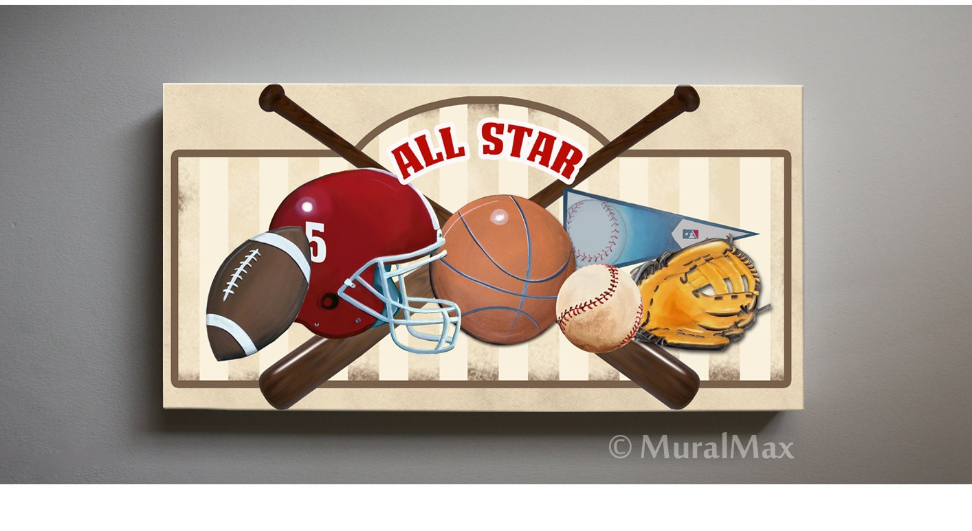 Art for Children Kids Wall Art Sports Canvas Art All Star