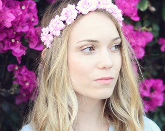 THE ALEXIA Pink Flower Rose Elastic Headband Cute Flower Hair Boho Hippie Headpiece Childrens Prom Wedding Flower Girl Crown Wreath Woodland